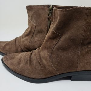 Nine West Womens 6M Ankle Boots Brown Suede 6M